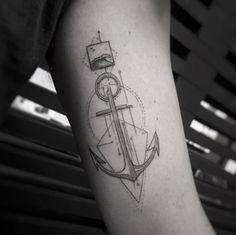 Geometric Anchor Tattoo by Balazs Bercsenyi