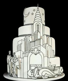 black and gold art deco cakes | Black and white cake, art deco I love this! | Cake Shtuff