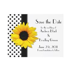 Customizable black and white polka dot sunflower wedding save the date announcements.