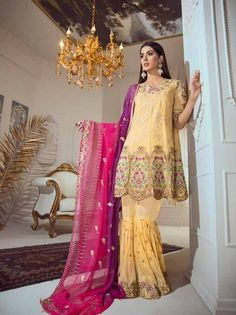 d1ad73c3bf This stunning designer straight cut suit comes with santoon bottom and  chiffon with heavy work ...
