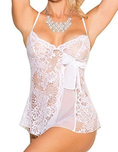 Smile YKK Babydoll Lingerie White Chiffon Lace Mini Dress String. Material: 100% Polyester. Add your midnight appearance a bit glamor! This sexy two-piece chiffon lace baby doll includes the baby doll that features adjustable shoulder straps, a decorative tie bow, and chiffon paneling and the matching g-string. Three colors available online. X-Small, One size .Bust 76-90cm Waist: 70-84cm Hip:90-100cm Length:68cm. Sexy Lingerie Nightwear Underwear Sets Babydoll Sleepwear Nightdress Teddy...
