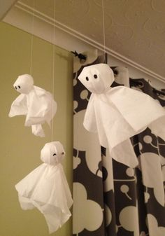 If tissue paper ghosts must have a face, I prefer adding just the eyes