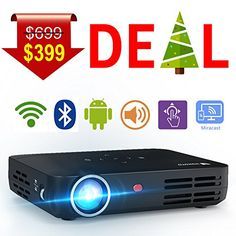 in the picture:WOWOTO H8 Video Projector DLP LED 1280×800 HD 3D Support 1080P Android System WiFi&Bluetooth Home Theater Portable Mini Cinema USB AV SD HDMI Game Multi-screen Sharing Touch Control Projectors Black lots of color options – get more i...
