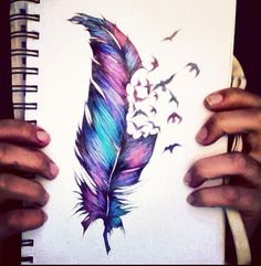 Feather tat..love the colors!