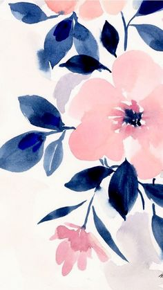 Pink and navy blue girly floral iPhone background wallpaper. - Jan Schmidt - Pink and navy blue girly floral iPhone background wallpaper. – Jan Schmidt Pink and navy blue girly floral iPhone background wallpaper. Watercolor Pattern, Watercolor Flowers, Watercolor Art, Drawing Flowers, Watercolor Wallpaper, Painting Flowers, Floral Watercolor Background, Painting Wallpaper, Print Wallpaper