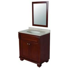 Classic 30 in. Vanity in Amber with Colorpoint Vanity Top in Maui and Mirror-CL30P3-A at The Home Depot    small bathroom