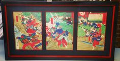 Japanese woodblock prints from 1850. Custom framed with two acid-free mats, museum glass, and two stacked @larsonjuhl Komoto frames! Custom framed by FastFrame of LoDo. #art #pictureframing #customframing #denver #colorado