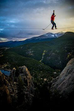 Slackline with Longs Peak in the background! sick!!