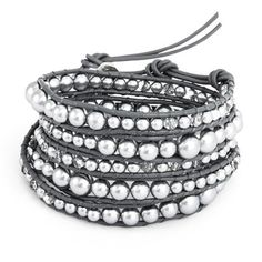 Chen Rai Graduated Grey Simulated Pearl and Glass Mix Wrap Bracelet by Eve's Addiction -- Awesome products selected by Anna Churchill