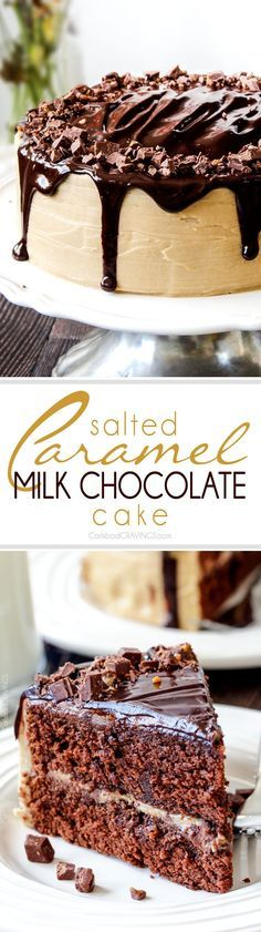 Crazy moist Salted Caramel Milk Chocolate Cake, busting with milk chocolate toffee bits, coated in Caramel Icing and smothered in silky chocolate ganache. THE only chocolate cake recipe you need!
