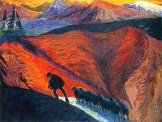 Marianne Von Werefkin, Man with flock of sheep (1910). on ArtStack #marianne-von-werefkin #art