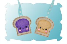 Peanut Butter and Jelly Zipper Pulls In The Hoop - DigiStitches Machine Embroidery Designs