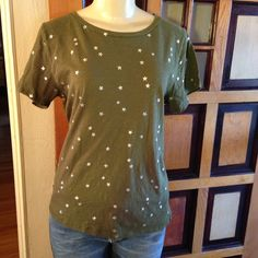"J. Crew starry eyed T shirt Cute green tshirt.  Silver sparkly stars everywhere, front and back.  Measures 22"" bust, 25 1/2"" length. Has wear but no rips, stains, or holes.  Bundle and save. No trades and no holds. Please use offer to negotiate. J. Crew Tops Tees - Short Sleeve"