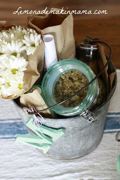 Appreciation gift idea- breakfast in a bucket  Homemade Granola, cheese & flowers