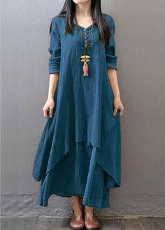 V Neck Button Design Layered Maxi Dress on sale only US$27.79 now, buy cheap V Neck Button Design Layered Maxi Dress at liligal.com