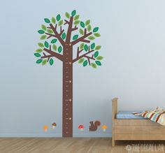 Growth Chart Wall Decal - Forest Tree and Friends Squirrel Kids Childrens Wall Decal - Nursery Wall Decal. $87.00, via Etsy.