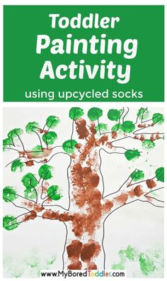 Toddler Painting Activity with Upcycled Socks: Kids will love using socks as painting tools in this fun process art activity. Toddler Painting Activities, Sensory Activities Toddlers, Preschool Learning Activities, Infant Activities, Art Activities, Baby Sensory Board, Baby Sensory Play, Sensory Bins, Toddler Christmas Gifts