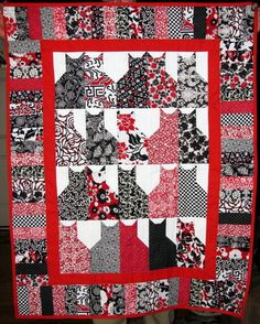 Handmade-Classic-Black-White-Red-Cats-Kitty-Cat-Lap-Quilt-Throw-CAT-RESCUE
