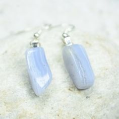 Genuine surf tumbled sea glass jewelry, ornaments and tumbled stone necklaces, earrings, bracelets, agate slice ornaments and more. Blue Lace Agate, Tumbled Stones, Minerals And Gemstones, Rocks And Gems, Agate Stone, Sea Glass Jewelry, Healing Stones, Stone Necklace, Dangle Earrings
