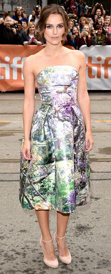Keira Knightley tunned in an Impressionistic strapless dress by Mary Katrantzou at the Toronto Film Festival.