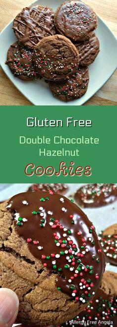 Gluten Free Double Chocolate Hazelnut (Nutella) Cookies #GlutenFree #cookies #nutella #Chocolate #glutenfreecookies #ChristmasCookies