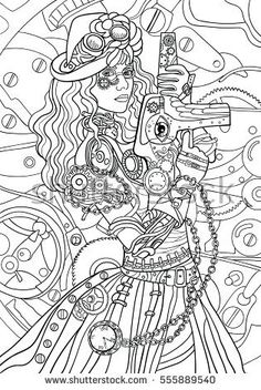 Beautiful fashion girl with abstract hair and steam punk design. Coloring book for adults. Vector illustration. Black and white in zentangle style. The woman with weapon. The girl in a hat and glasses