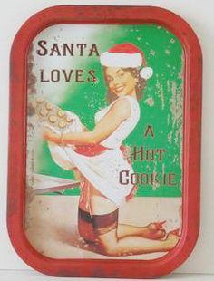 Santa Loves a Hot Cookie Tin Tray
