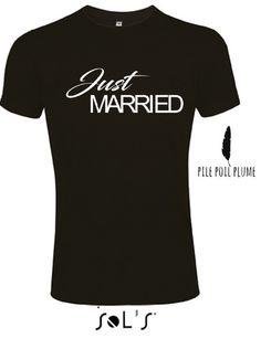t -shirt just married pour homme lendemain de mariage : Tshirts, polos par pile-poil-plume