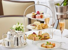 Afternoon Tea — What we imagine all British teas to be. An afternoon meal, served typically from 4 – 6 pm, which includes the tiers of smart little crustless sandwiches, scones, clotted cream, curd, 2-3 sweets and heaps of tea.