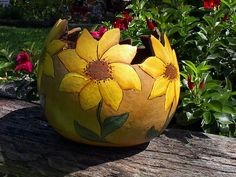 painted sunflowers   Hand Painted Gourd Summer Sunflower Bowl/Planter by NatsKreations