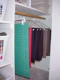 Sewing Fabric Storage Closet storage for sewing and quilting. Lots of other great ideas for organizing sewing, quilting and craft items on this site. Sewing Closet, Sewing Room Storage, Sewing Room Organization, My Sewing Room, Craft Room Storage, Fabric Storage, Sewing Rooms, Closet Storage, Vinyl Storage