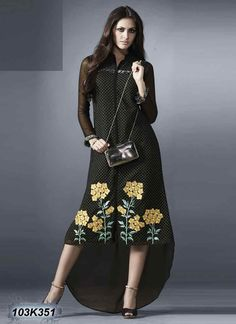 Bedazzling Black Coloured Georgette Kurti