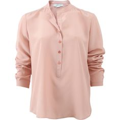 Stella Mccartney Eva Shirt ($645) ❤ liked on Polyvore featuring tops, silk top, long tops, collar top, pink shirt and pink collared shirt