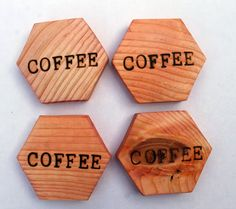 punk projects: Wood Burned Hexagon Coasters                              …