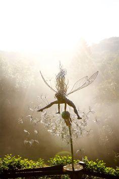 Fairy and Dandelion Steel Wire Sculpture, By Robin Wight. Robin Wight, Chicken Wire Art, Fairy Art, Land Art, Metal Art, Garden Art, Amazing Art, Fantasy Art, Cool Art