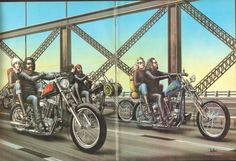 David Mann ''Riding Over The Bridge'' 16'' x 20'' Matted Biker Art #8206ezrxm