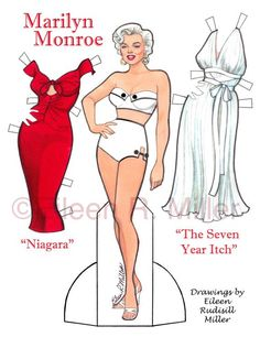 Marilyn Monroe Paper Doll by PaperDollsbyERMiller on Etsy, $17.00