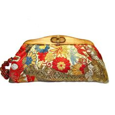 Kimono Clutch-Flowers in Golden Dreams   Uroco