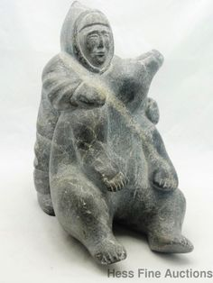 Awesome Vintage Inuit Carved Stone Figure Sculpture Eskimo & Polar Bear Numbered