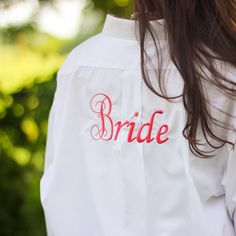 """These Personalized Bride and Bridesmaid boyfriend shirts are perfect for your entire bridal party! You'll love the adorable """"getting ready"""" pictures. You can personalize them with titles on the back and initials on the front. You can also do just initials or just titles. Order now and receive 10% off using coupon code """"lifematters"""" at checkout!"""