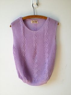 vintage pastel lavender purple open knit sweater top s by vintspiration, $16.00
