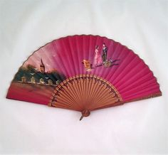 Vintage Maroon Silk Fan Handpainted by GrapenutGlitzJewelry