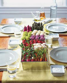 Very nice ediable center piece, from the vegetable garden. have individual dips at the plates.