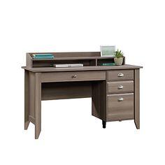 Sauder Shoal Creek Desk With Organizer Hutch, Diamond Ash - Douglas Pemberton Desk With File Drawer, Computer Desk With Hutch, Desk Hutch, Office Depot Desks, Office Desk, Craftsman Desks, Sauder Woodworking, Desk Styling, Work Station Desk