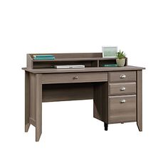 Sauder Shoal Creek Desk With Organizer Hutch, Diamond Ash - Douglas Pemberton Desk With File Drawer, Computer Desk With Hutch, Buy Computer, Desk Hutch, Office Depot Desks, Office Desk, Craftsman Desks, Sauder Woodworking, Desk Styling