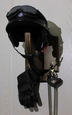 Motorcycle Helmet Holder Wooden Helmet Hook Bicycle by BearLodge