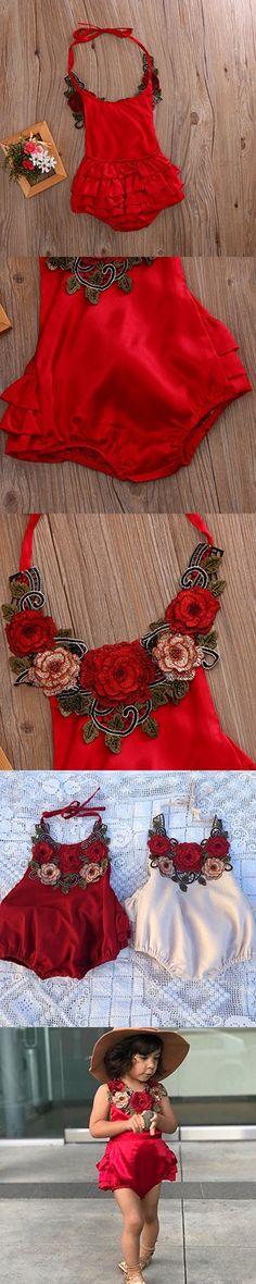 Baby Girl 3D Flower Applique Halter Floral Romper,Backless Bodysuit,Ruffle Sunsuit (0-6 M, Red 2)