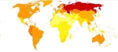 Disability-adjusted life year for alcohol use disorders per 100,000 inhabitants in 2004 -- from > 50 (light yellow) to < 1250 (Russia)