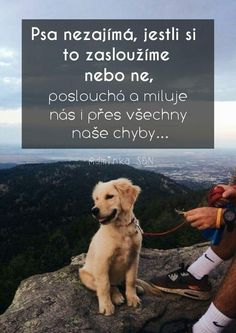 The dog does not care if we deserve it or not, listens and m .- Psa nezajímá, jestli si to zasloužíme nebo ne, poslouchá a miluje nás i p… The dog doesn& care if we deserve it or not, he listens and loves us despite all our mistakes …. Dog Quotes, True Quotes, True Words, Motto, Don't Care, Cool Words, Quotations, Writing, Motivation