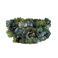 * * Coiled memory wire bracelet featuring a variety of green moss agate beads * Moss agate beads are in nugget, chip, and round shape with varied shades and hues * Moss agate resembles the moss of tre